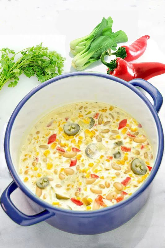 VEGETARIAN WHITE CHILI -Dora Wang Pinterest recipe