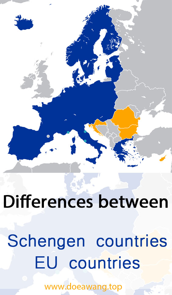 Differences between Schengen countries and EU countries